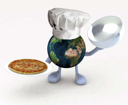 the world cartoon with a restaurant chef hat and pizza on dish photo