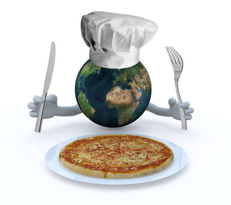 the world with hands, fork and knife in front of a pizza dish, 3d illustration illustration