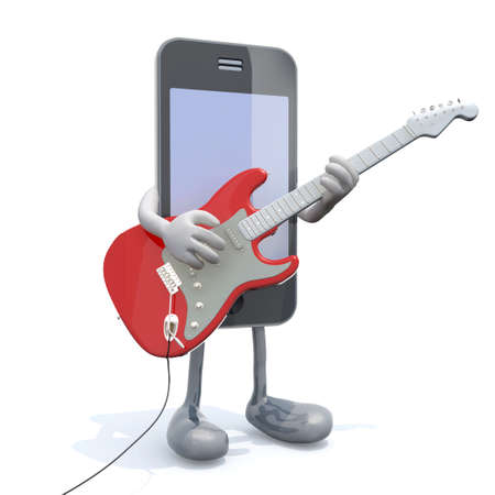 smartphone with arms and legs that play electric guitar, 3d illustration illustration