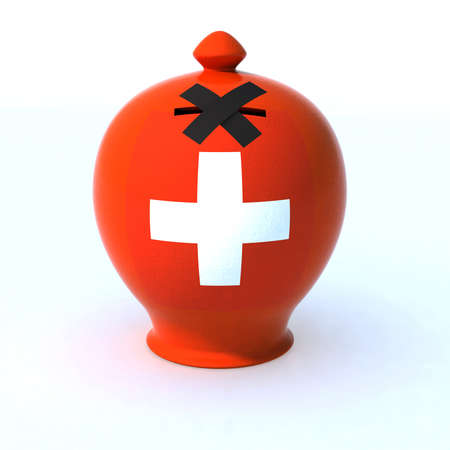 anonymity: money box with switzerland flag and hole closed  Stock Photo