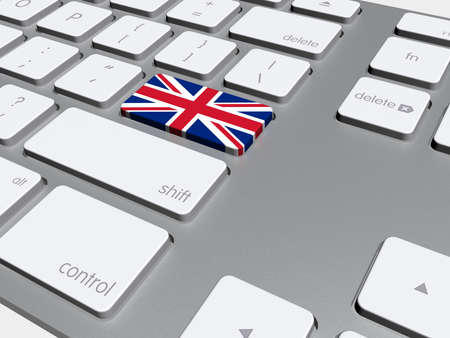 learn english: English flag button on the keyboard, 3d illustration