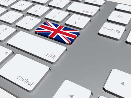 Inglés bandera botón en el teclado, ilustración 3d Foto de archivo - 28570740