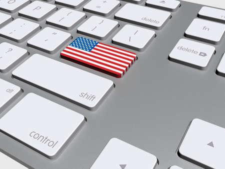 tecla enter: Botón de la bandera americana en el teclado, ilustración 3d Foto de archivo