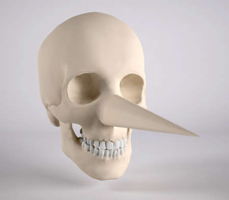 timorous: human skull with big nose, 3d illustration