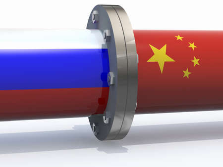 russia map: gas tubes with russian and china flag, business partnership concepts