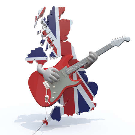 britain flag: England map with arms that play electric guitar, 3d illustration Stock Photo