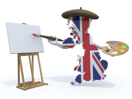 england map with arms, painter with brush and easel photo