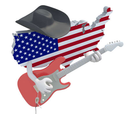 American map with arms and hat that play electric guitar, 3d illustration illustration