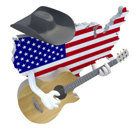 country music: American map with arms and hat that play guitar, 3d illustration