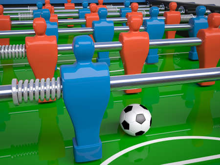 gaming: detail of table football toy and soccer ball, 3d illustration
