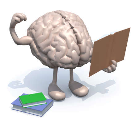 brains: human brain with arms, legs and many books on hand, culture power concept. Stock Photo