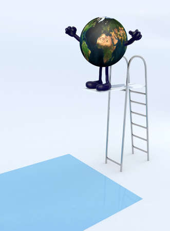 diving platform: planet earth with arms and legs on trampoline dip in the pool, 3d illustration Stock Photo