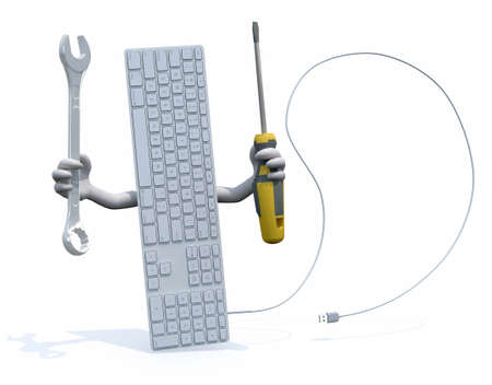 toolkit: computer keyboard with arms and tools on hand, 3d illustration