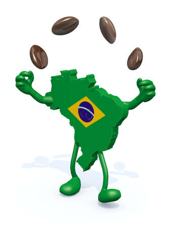 expresso: brasilian map with arms, legs does the juggler with coffee beans Stock Photo