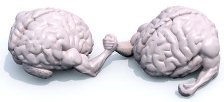 discord: two human brains that make arm wrestling, 3d illustration