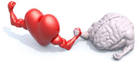 heart and human brain that make arm wrestling, 3d illustration
