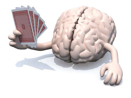 human brain with arms and legs been playing poker, 3d illustration illustration