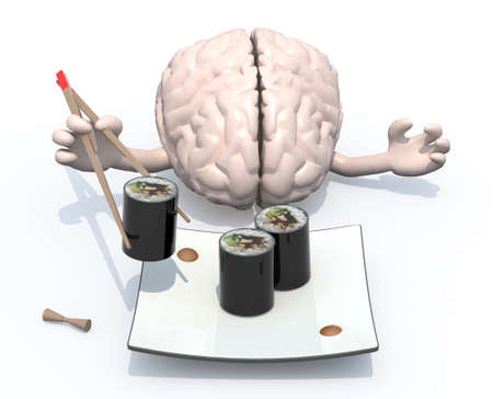 the brain with hands and chopsticks in front of an sushi plate, 3d illustration illustration