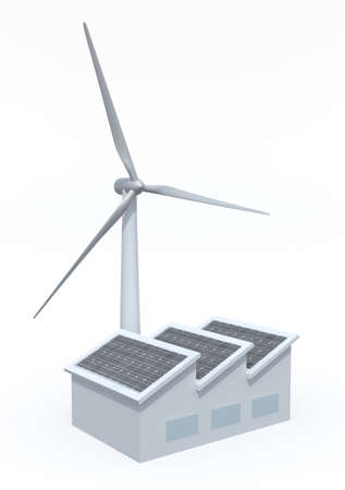 factory with solar panels and wind turbine instead of the chimney, 3d illustration on white background illustration