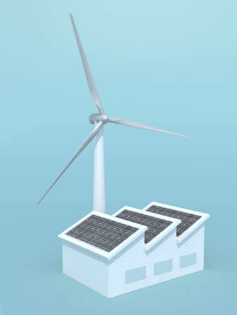 factory with solar panels and wind turbine instead of the chimney, 3d illustration on blue background illustration