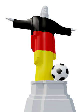 Christ the Redeemer colored with German flag and soccer ball, 3d illustration