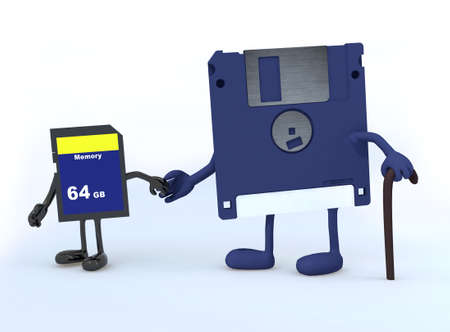 floppy disk and memory stick that walk, the concept of innovation tecnology photo