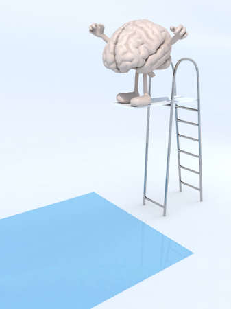 diving platform: human brain with arms and legs on trampoline dip in the pool, 3d illustration Stock Photo