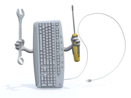 hardware repair: computer keyboard with arms and tools on hand, 3d illustration