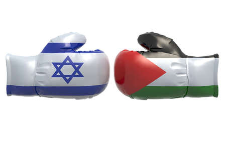 palestine: Boxing gloves with Israel and Palestine flag, 3d illustration