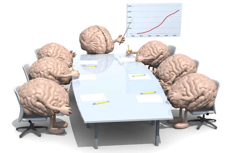 many human brains meeting around the table and follow their boss photo
