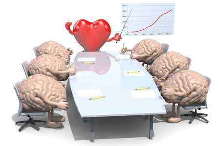 ceo: many human brains meeting around the table and follow their boss, the heart