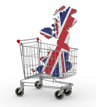 product cart: UK 3d map into shopping cart, 3d illustration Stock Photo