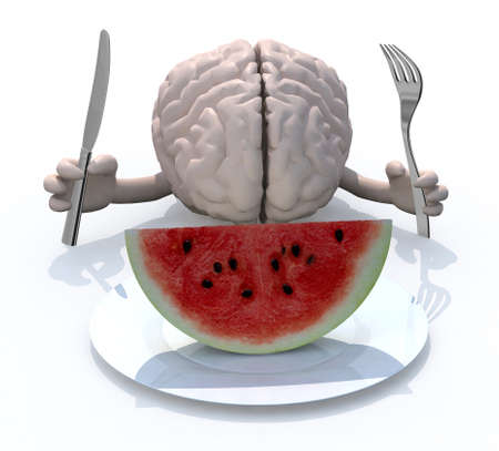 fat: human brain with hands, fork and knife in front of a watermelon slice on dish, 3d illustration