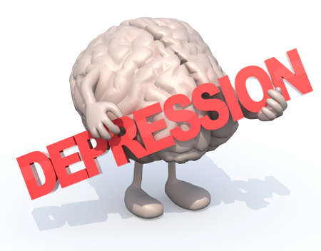 3d word: human brain with arts that embraces a word depression, 3d illustration