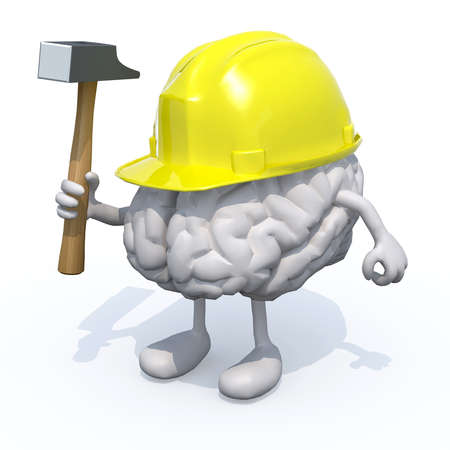 insurance claim: human brain with arms, legs, work helmet and hammer on hand, 3d illustration Stock Photo