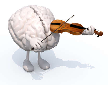 prodigy: human brain with arms and legs who plays the violin, 3d illustration