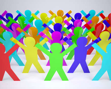 many people cartoon silhouette colored with hands in up, 3d illustration illustration