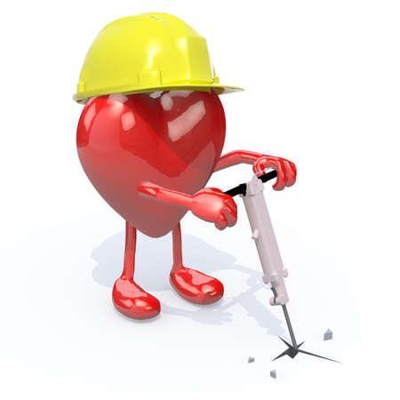 presslufthammer: Herz mit Armen, Beinen, Arbeit Helm und Presslufthammer auf der Hand, 3d illustration
