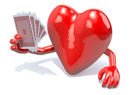 adults sex: heart with arms and legs been playing poker, 3d illustration