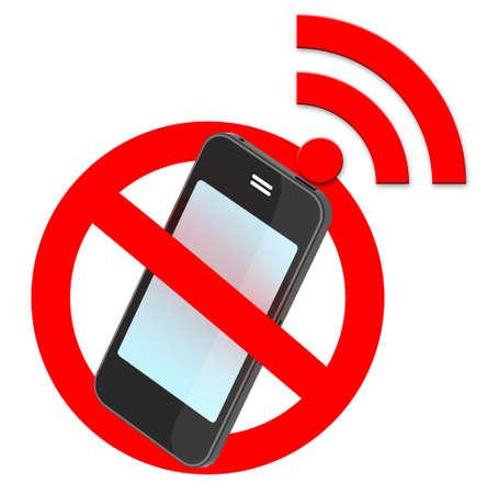 no smartphone traffic sign, 3d illustration illustration