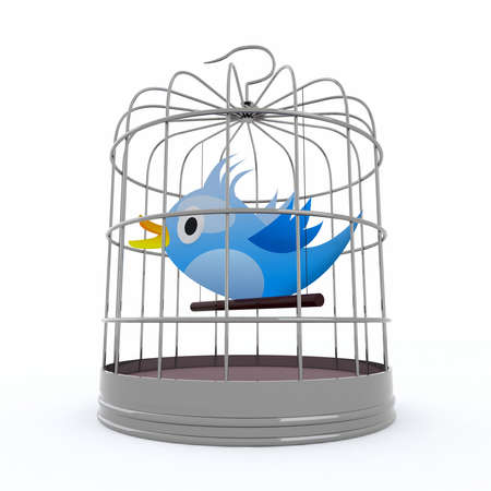 confinement: blue bird inside the cage that chirps, 3d illustration Stock Photo