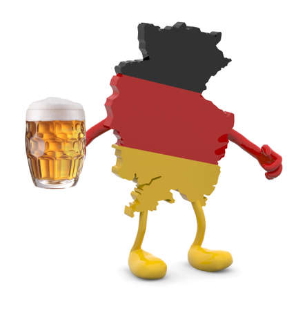 oktober: germany map with arms, legs and glass mug of beer on hand, 3d illustration