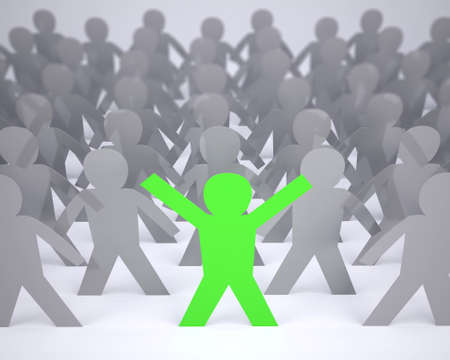 many people cartoon silhouette grey colored and one green with hands in up, 3d illustration illustration