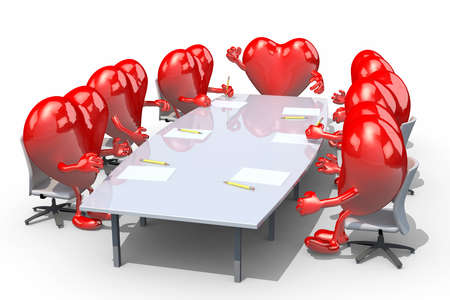 many hearts meeting around the table and follow their boss photo