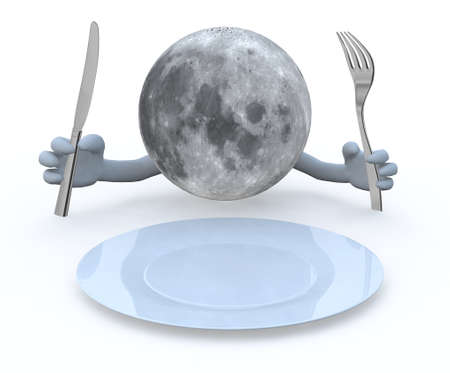 the moon planet with hands and utensils in front of an empty plate photo