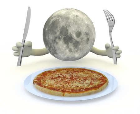 luna caricatura: el planeta luna con las manos, tenedor y un cuchillo delante de un plato de pizza, ilustración 3d