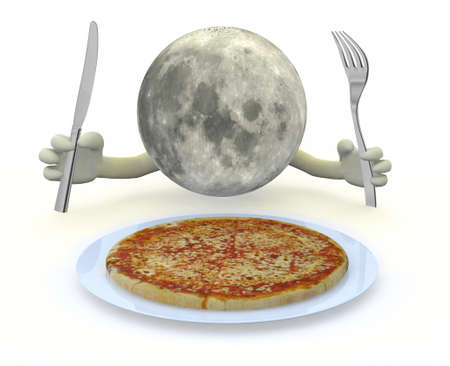 cartoon moon: the moon planet with hands, fork and knife in front of a pizza dish, 3d illustration Stock Photo