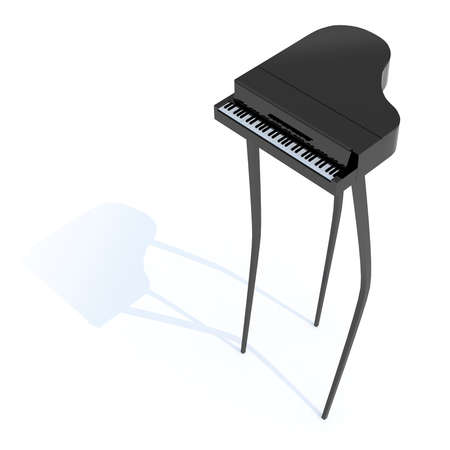 long feet: piano with long feet, 3d illustration Stock Photo