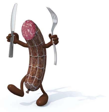 cold cuts: cartoon salami with arms, legs fork and knife on hands, 3d illustration