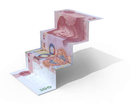 100 yuan banknote folded as steps on white background, 3d illustration